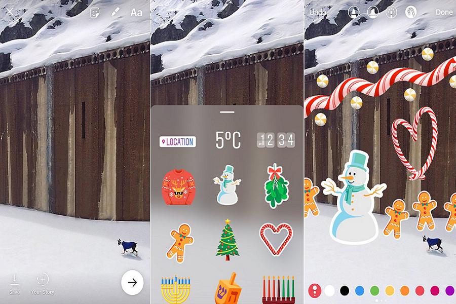 Storie di Instagram Nuovi adesivi ed allegria un po' forzata per il Natale