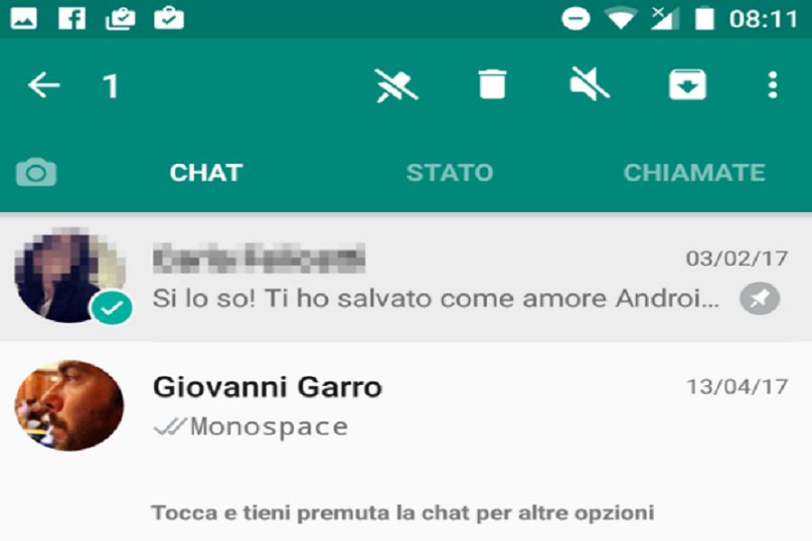 Myfacemood- WhatsApp consentirà di mettere un PIN in cima a tre chat scelte da voi!