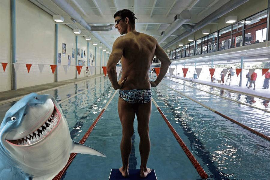 Myfacemood - Michael Phelps lancia la sfida al Grande Squalo Bianco!